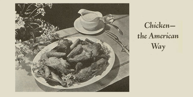 Chicken the American way. Black and White Ad
