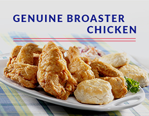 Ad for GBC with chicken and biscuits on plate