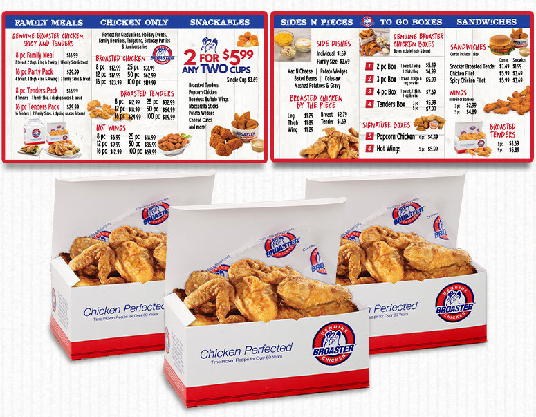 Broaster offers branded to-go packaging and menu board graphics